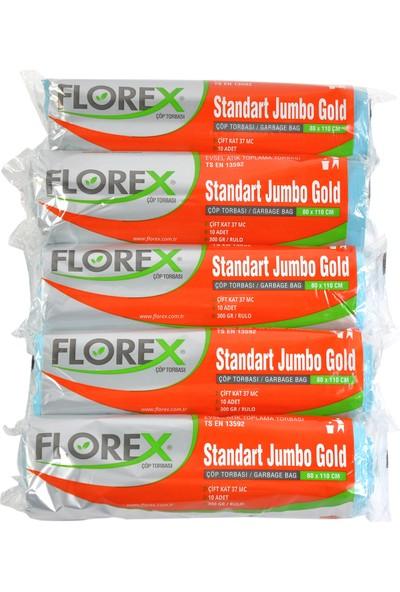 Florex Standart Jumbo Gold Mavi Çöp Torbası 80x110 cm 5 Rulo