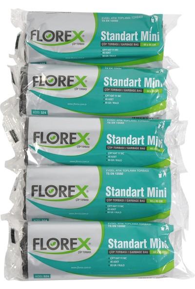 Florex Standart Mini Siyah Çöp Torbası 44x45 cm 5 Rulo