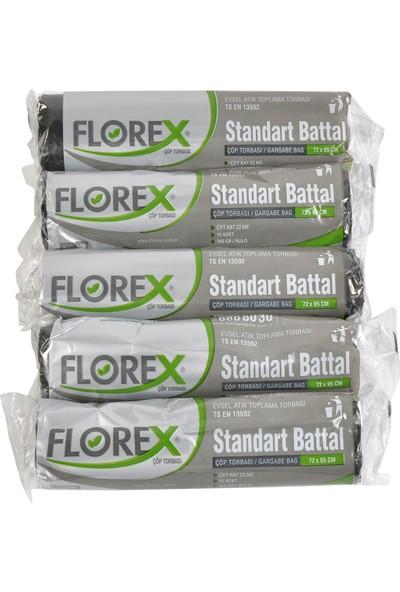 Florex Standart Battal Siyah Çöp Torbası 72x95 5 Rulo
