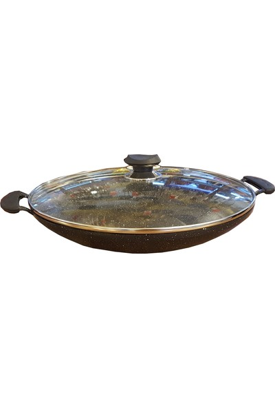 Oms Granit Kavurma Sacı 34 cm Kapaklı Siyah
