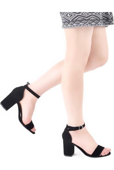 Muggo Women Süet Tek Bant Topuklu Ayakkabı