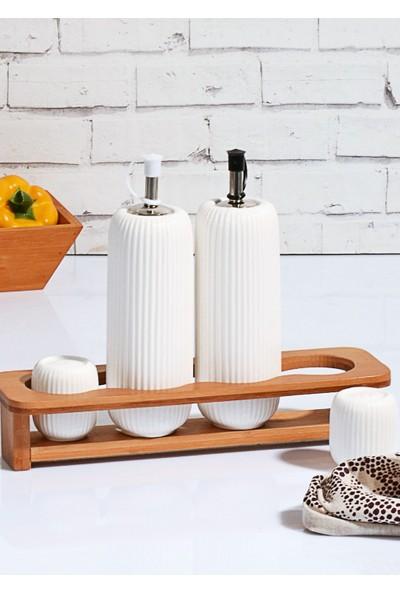 Mhk Bambu Standlı Porselen Yağlık Sirkelik Tuzluk Takımı