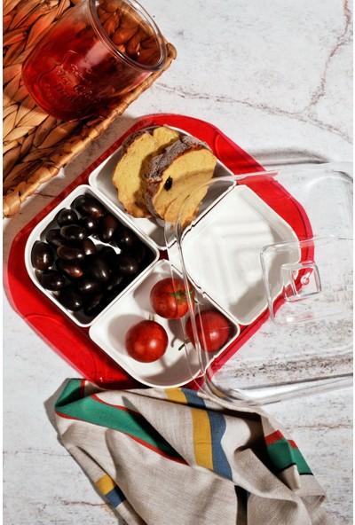 MHK Collection 4 Bölmeli Akrilik Lüx Kapaklı Kahvaltı Seti