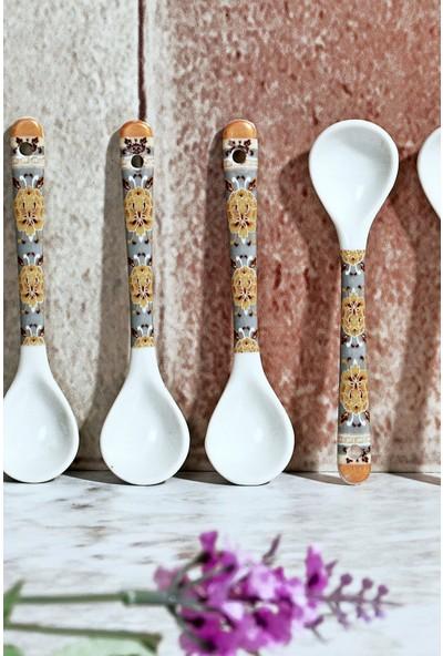 MHK Collection 6'lı Desenli Porselen Kaşık Seti - 10,5 cm