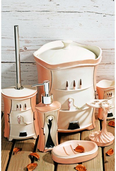 MHK Collection 8 Parça Lüx Polyester Kabartmalı Banyo Seti