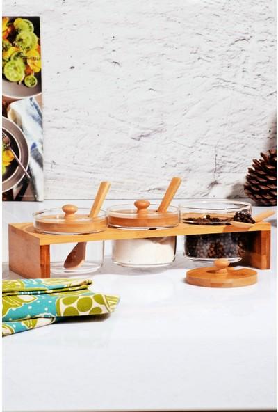 MHK Collection Bambu Lüx Üfleme Cam Baharatlık Seti