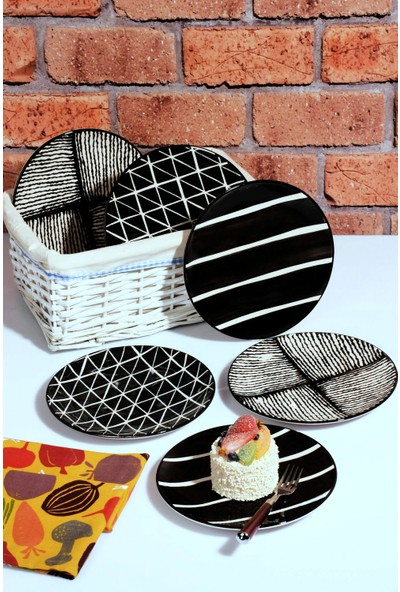 MHK Collection El Yapımı 6'lı Seramik Pasta Tabağı Servis Seti