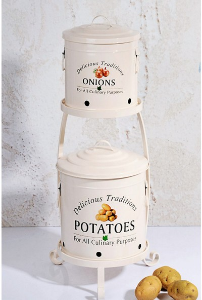 MHK Collection Ferforje Lüx Katlı Büyük Patates Ve Soğan Kovası