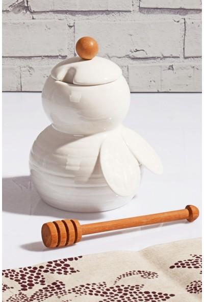 MHK Collection Kaşıklı Lüx Porselen Bal Kavanozu
