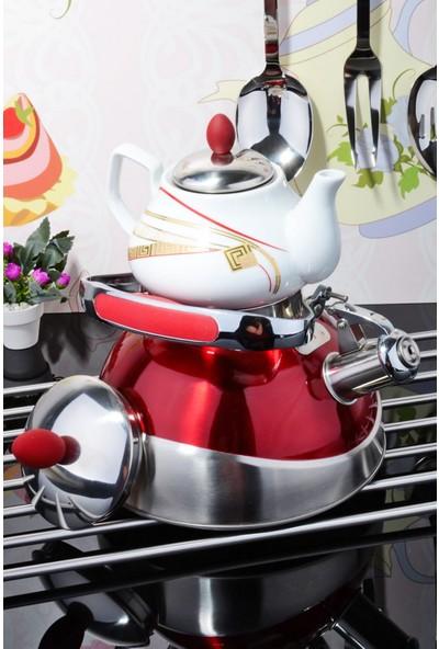 MHK Collection Porselen De mlikli Çelik Kettle Çaydanlık