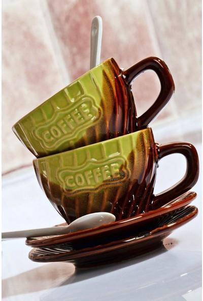 MHK Collection Stoneware 2'li Kaşıklı Lüx Kahve Fincan Takımı