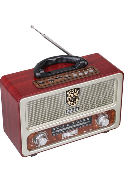 Meirer M 111 Bt Usb Sd Nostaljik Görünümlü Bluetoothlu Fm Am Sw Radyo