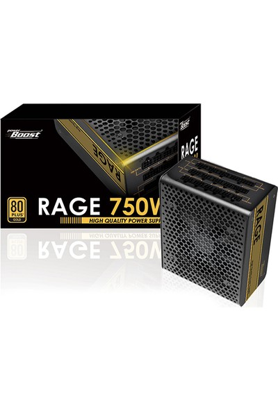 "PowerBoost BST-ATX750G ""RAGE"" 750w 80+ GOLD Full Modüler 12cm Fanlı ATX Power Supply"