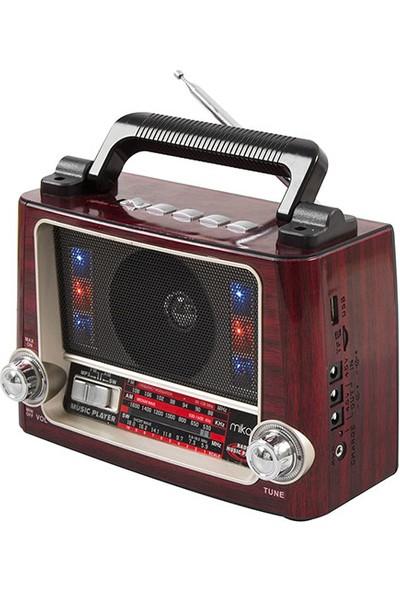 Mikado Mdr - 7Bt Serenad K Usb - Tf Destekli Bluetooth Fm - Am*Sw 3 Band Klasik Nostalji Radyo Ahşap - Kırmızı