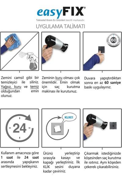Tekno-tel EASYFIX YAPIŞKANLI 2'Lİ ASKILIK KROM EF236