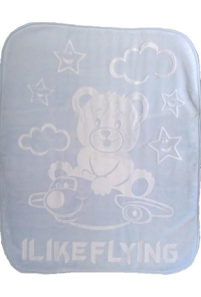 Dormina Mavi Ayıcık Desenli Bebek Battaniye