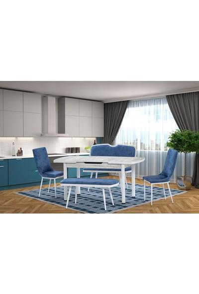 Gül Masa Sandalye Elit Bank Takımı Mutfak Masası Kumaş Bank ve Sandalye Takımı Mavi