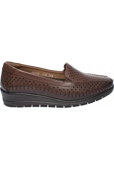 Forelli 25113 Kadın Taba Deri Comfort Ayakkabı