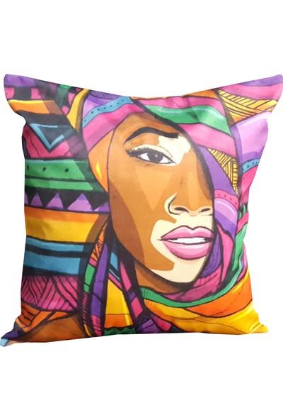Mrs.gugar Renkli Afrikalı Digital Baskılı Modern Yastık Kırlent Kılıfı