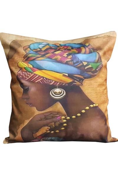 Mrs.gugar Başörtülü Afrikalı Diğital Baskılı Modern Yastık Kırlent Kılıfı