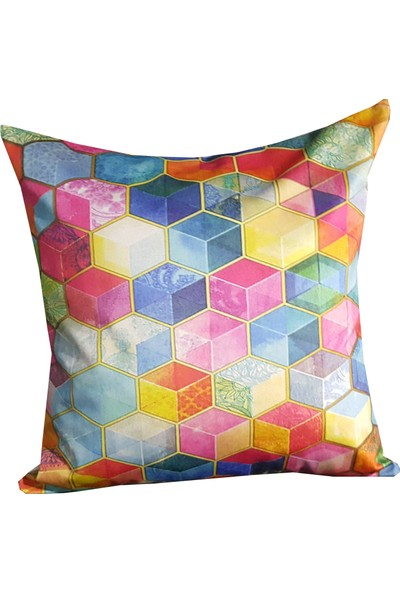 Mrs.gugar Renkli Petek Digital Baskılı Modern Yastık Kırlent Kılıfı