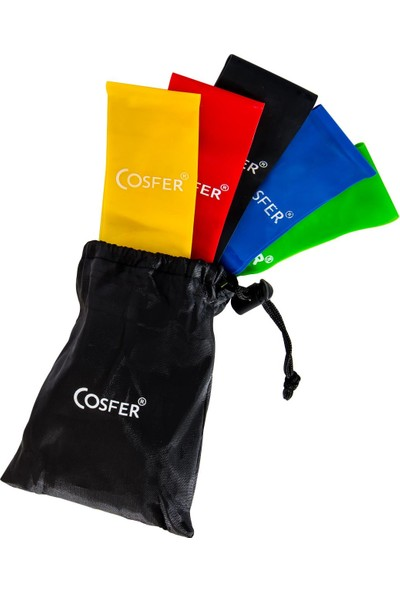 Cosfer CSF 5PL Aerobik ve Yoga Bandı 5 Li