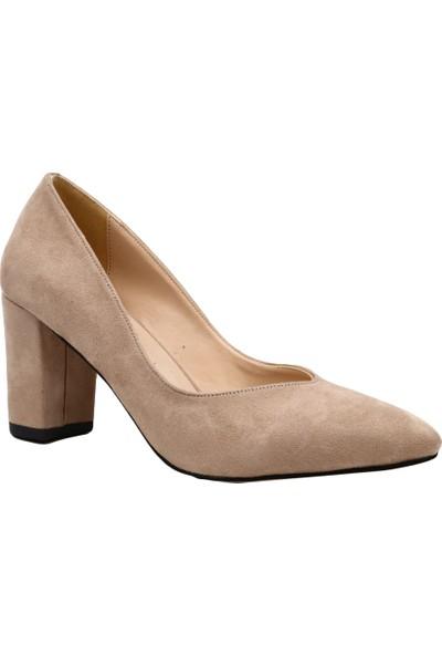 Dgn 106 Kadın Sivri Burun V Dekolteli Topuklu Ayakkabı Bej
