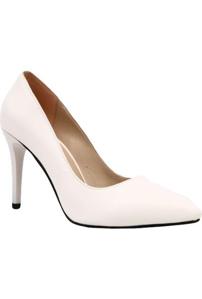Dgn 155 Kadın Sivri Burun Parmak Dekolteli İnce Topuklu Ayakkkabı Beyaz