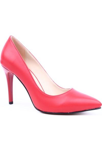 Dgn 155 Kadın Sivri Burun Parmak Dekolteli İnce Topuklu Ayakkkabı Kırmızı