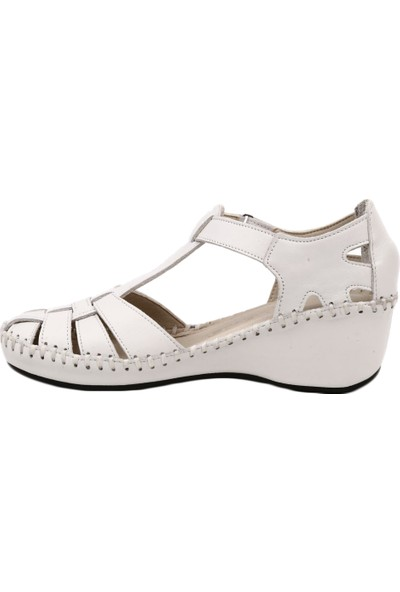 Venüs 18793008 Kadın Sandalet Ayakkabı Beyaz Garni