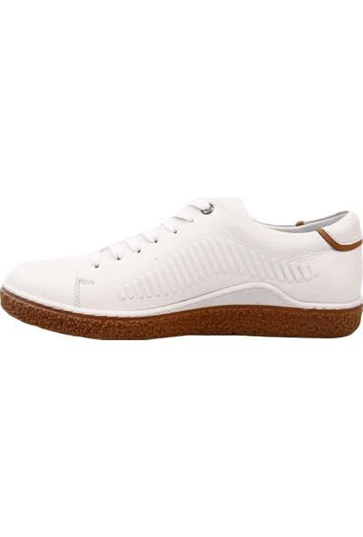Dgn 1885-1 Erkek Beyaz Çizgili Taban Bağcıklı Sneakers Ayakkabı Beyaz