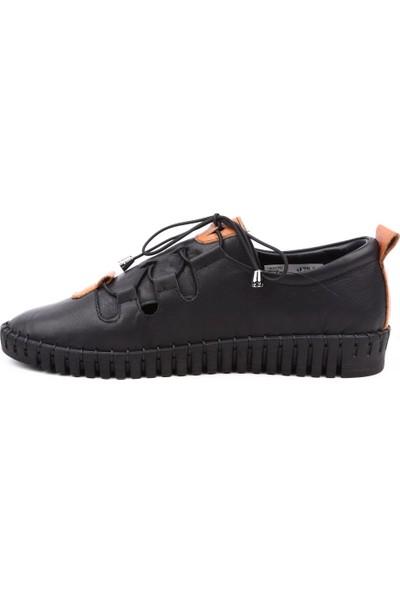 Dgn 19027 Kadın Çapraz Spor Lastik Bağlı Casual Ayakkabı Siyah