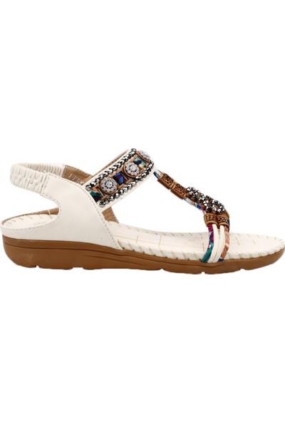 Guja 19Y100-1 Kadın Boncuklu Etnik Desenli Sandalet Beyaz