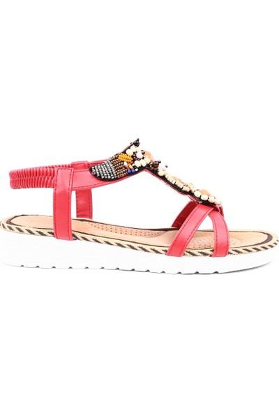 Guja 19Y136-3 Kadın Boncuk İşlemeli T-Strap Sandalet Kırmızı