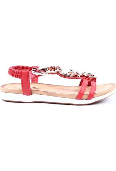 Guja 19Y153-2 Kadın Zincir Detaylı Sandalet Kırmızı
