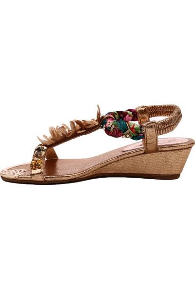 Guja 19Y201-1 Kadın Dolgu Taban T-Strap Tül Çiçekli Sandalet Altın