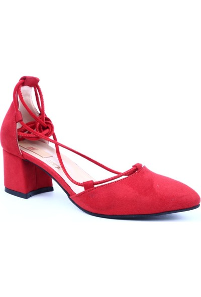 Dgn 204 Kadın Sivri Burun Parmak Dekolteli Sarmal Bağlı Kısa Topuklu Ayakkabı Kırmızı Süet
