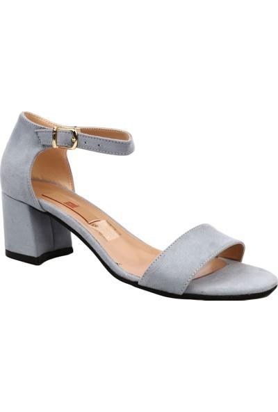 Dgn 205 Kadın Tek Bant Bilekten Bağlı Kısa Topuklu Ayakkabı Mavi Süet