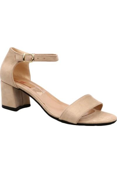 Dgn 205 Kadın Tek Bant Bilekten Bağlı Kısa Topuklu Ayakkabı Ten Süet