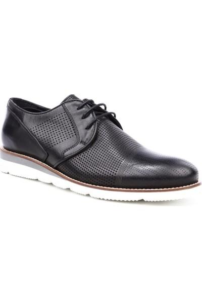 Dgn 2617 Erkek Eva Taban Bağcıklı Lazerli Casual Ayakkabı Siyah Yakma