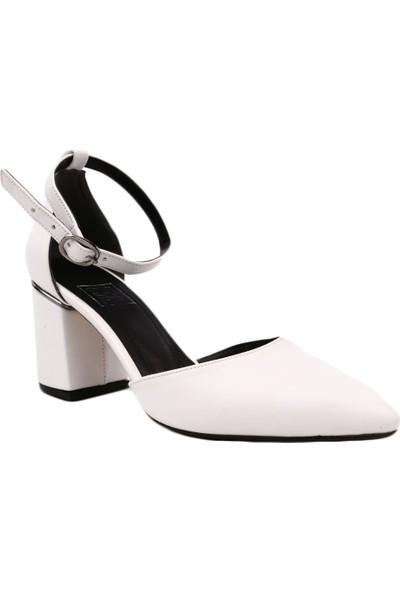 Dgn 3265 Kadın Sivri Burun Parmak Dekolteli Bilekten Bağlı Topuklu Ayakkabı Beyaz