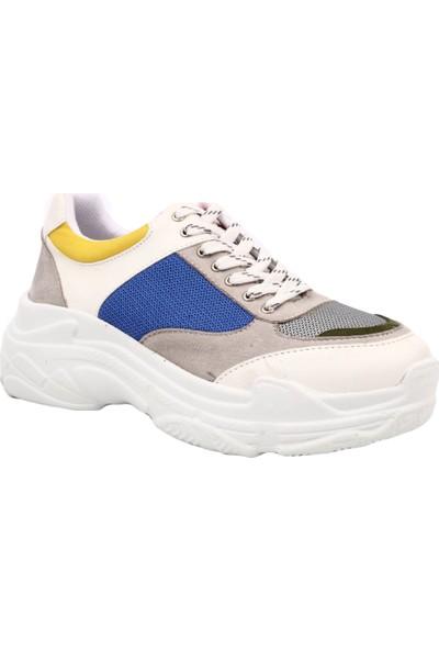 Dgn 6163 Kadın Kalın Taban Sneakers Spor Ayakkabı Beyaz Saks Multi