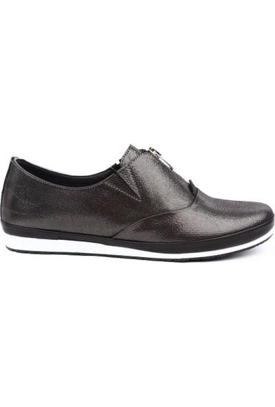Dgn 6253 Kadın Önü Fermuarlı Casual Ayakkabı Çelik