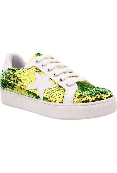 Dgn 8506 Kadın Payetli Trend Sneakers Spor Ayakkabı Yeşil Pullu