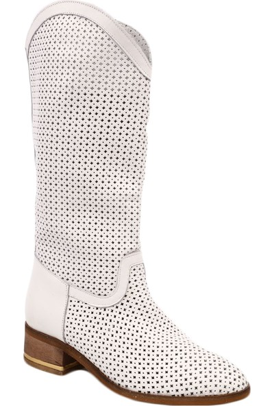 Dgn 871 Kadın Lazerli Knee Hight Soft Çizme Beyaz