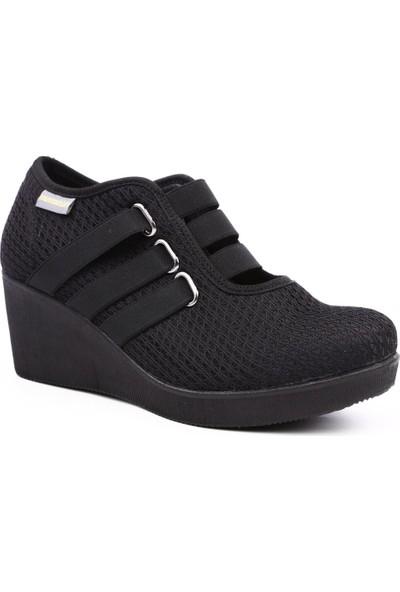 Mammamia D19Ya-115 Kadın Günlük Ayakkabı Siyah Keten