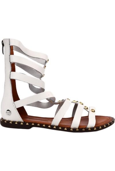 Mammamia D19Ys-1185 Kadın Sandalet Ayakkabı Beyaz Faber