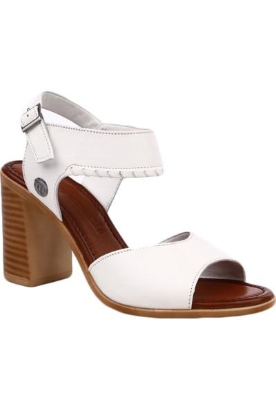 Mammamia D19Ys-1305 Kadın Sandalet Ayakkabı Beyaz Faber