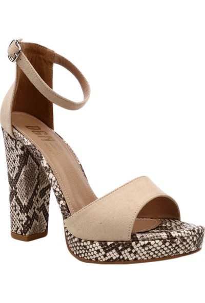 Dgn K307 Kadın Burnu Açık Bilekten Bağlı Platform Taban Lita Topuklu Ayakkabı Ten Süet Yılan