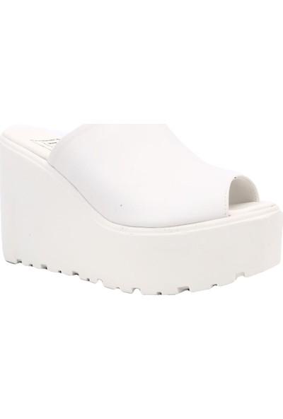 Dgn K331 Kadın Mega Dolgu Taban Terlik Beyaz
